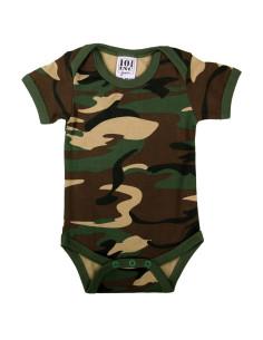 Body bambino mimetico camo con maniche woodland per neonato baby romper