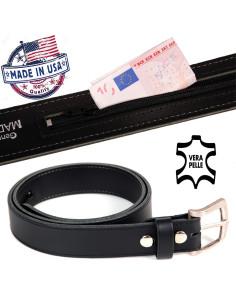 Cintura in vera pelle USA con tasca nascosta - Portafoglio portasoldi