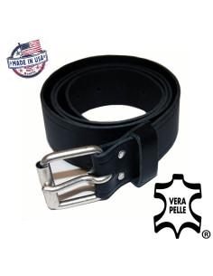 Cintura in vera pelle USA con fibbia in metallo