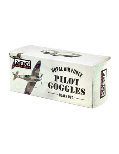 Occhiali da Pilota Aviatore RAF Inglesi Replica WWII neri - 255010 - Fosco Industries