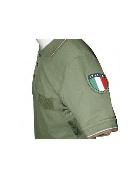 Polo Verde Oliva Militare SBB con bordo tricolore - 3971 - SBB Brancaleoni