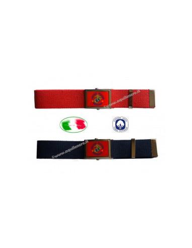 Cintura Scudetto Italia fibbia metallo vetrificata made in Italy 100/% cotone SBB
