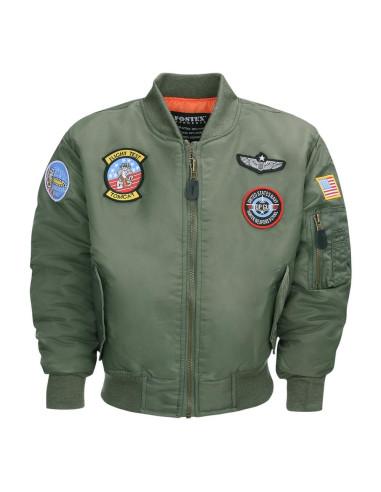 Giacca Bomber Militare MA-1 verde da bambino con toppe USAF - 121431 - Fostex Garments