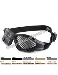 Occhiali di protezione a rete metallica per softair